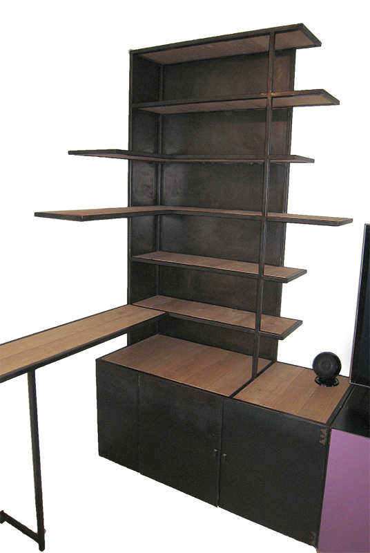 meuble biblioth que multifonctions m tal et bois les ateliers du 4. Black Bedroom Furniture Sets. Home Design Ideas
