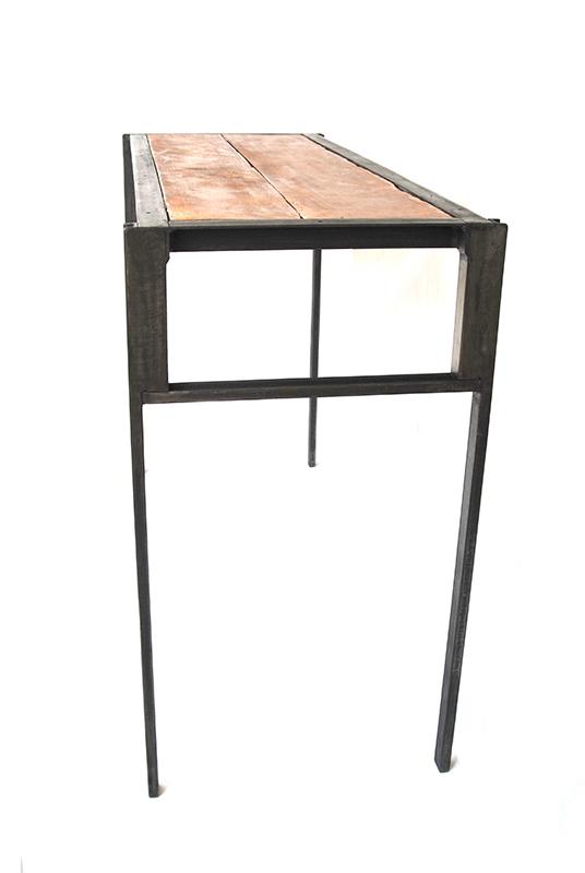 console et chaise en m tal et ch ne les ateliers du 4. Black Bedroom Furniture Sets. Home Design Ideas