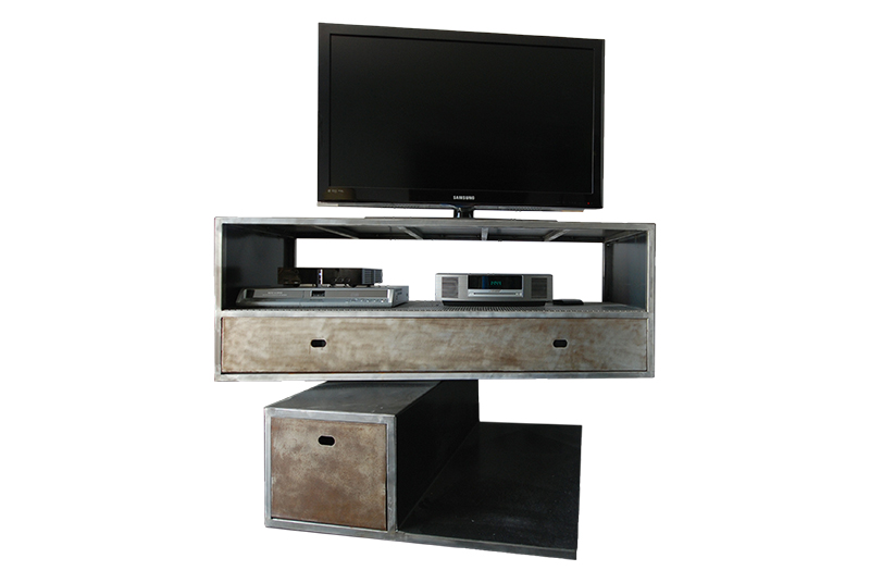 meuble tv m tallique sur pivot les ateliers du 4. Black Bedroom Furniture Sets. Home Design Ideas