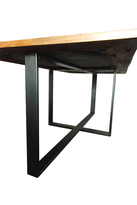 Table en m tal plateau bois et pierre les ateliers du 4 for Table bois metal design