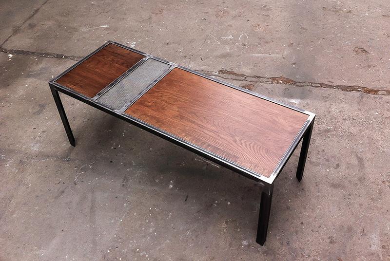 Table Basse En M Tal Et Plateau En Bois Massif Les Ateliers Du 4